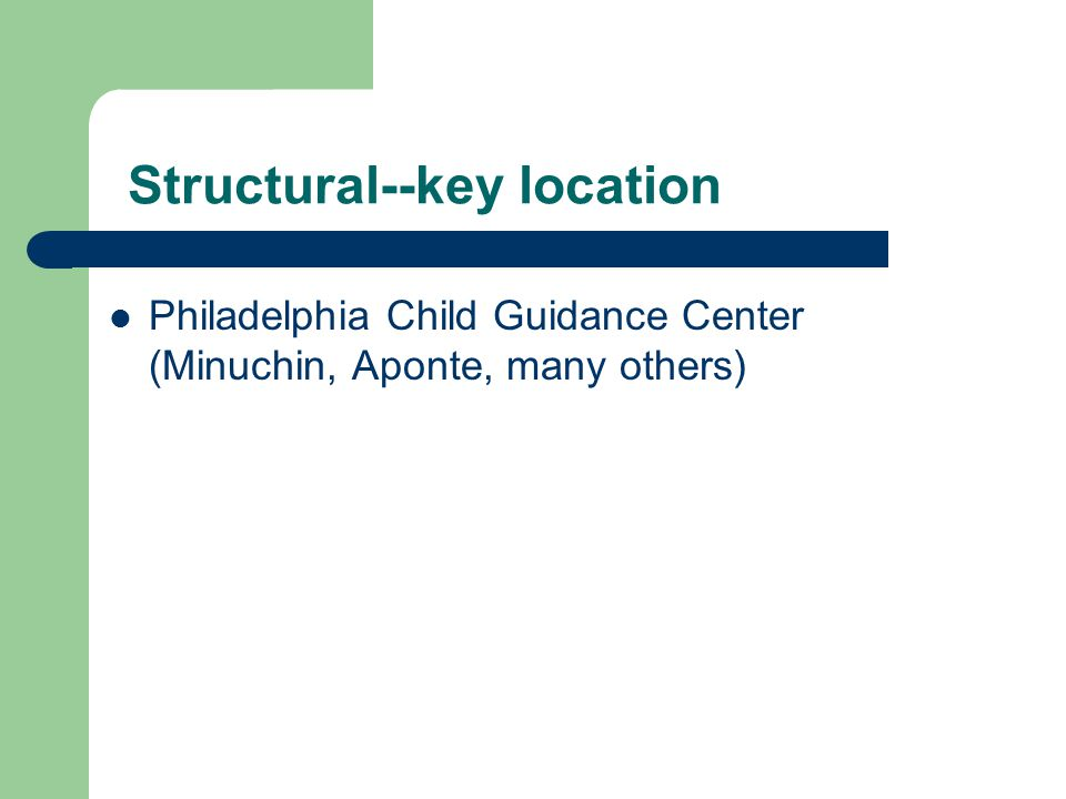 Structural--key location Philadelphia Child Guidance Center (Minuchin, Aponte, many others)