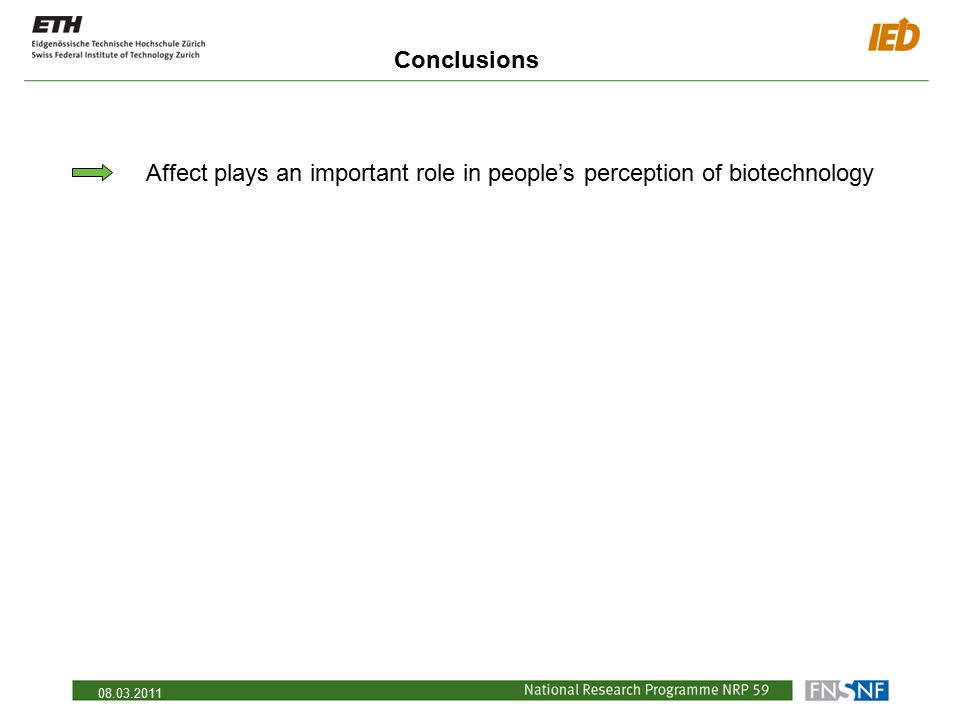 08.03.2011 Conclusions Affect plays an important role in people's perception of biotechnology