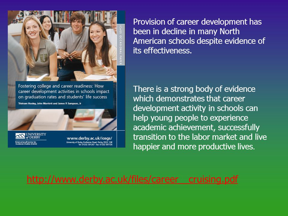 http://www.derby.ac.uk/files/career__cruising.pdf Provision of career development has been in decline in many North American schools despite evidence of its effectiveness.