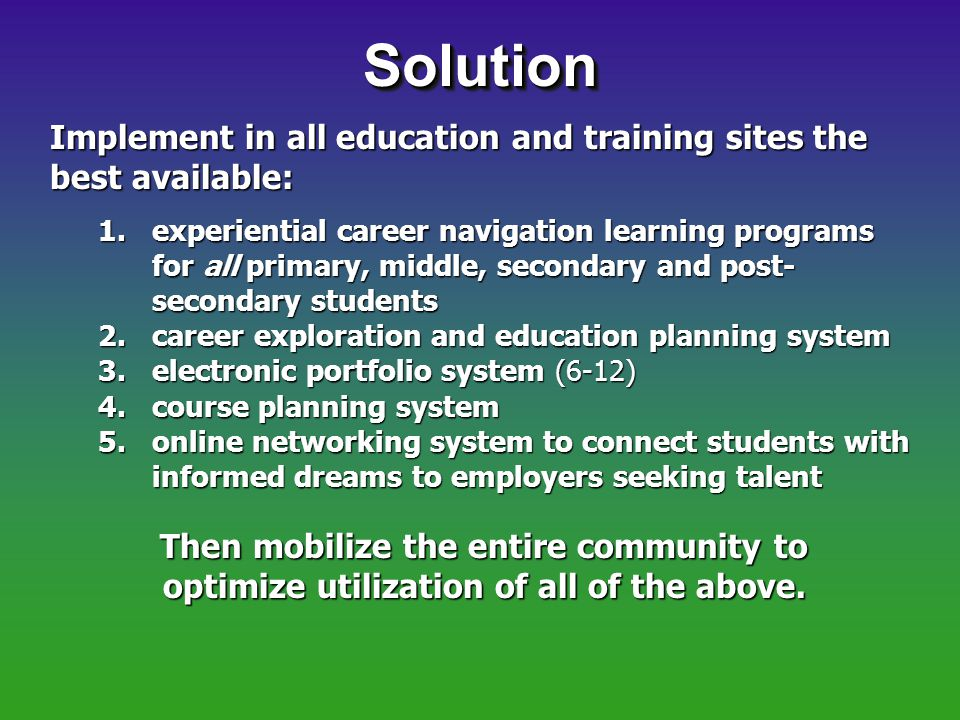 SolutionSolution Implement in all education and training sites the best available: 1.experiential career navigation learning programs for all primary, middle, secondary and post- secondary students 2.career exploration and education planning system 3.electronic portfolio system (6-12) 4.course planning system 5.online networking system to connect students with informed dreams to employers seeking talent Then mobilize the entire community to optimize utilization of all of the above.