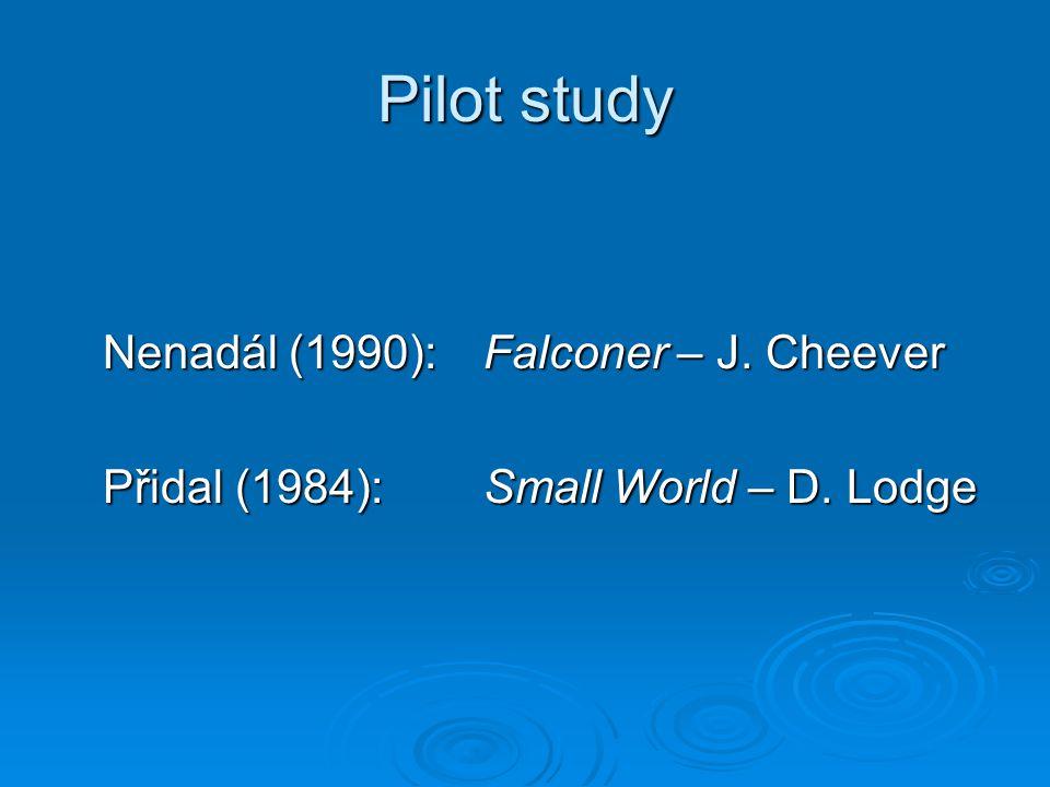Pilot study Nenadál (1990): Falconer – J. Cheever Přidal (1984):Small World – D. Lodge