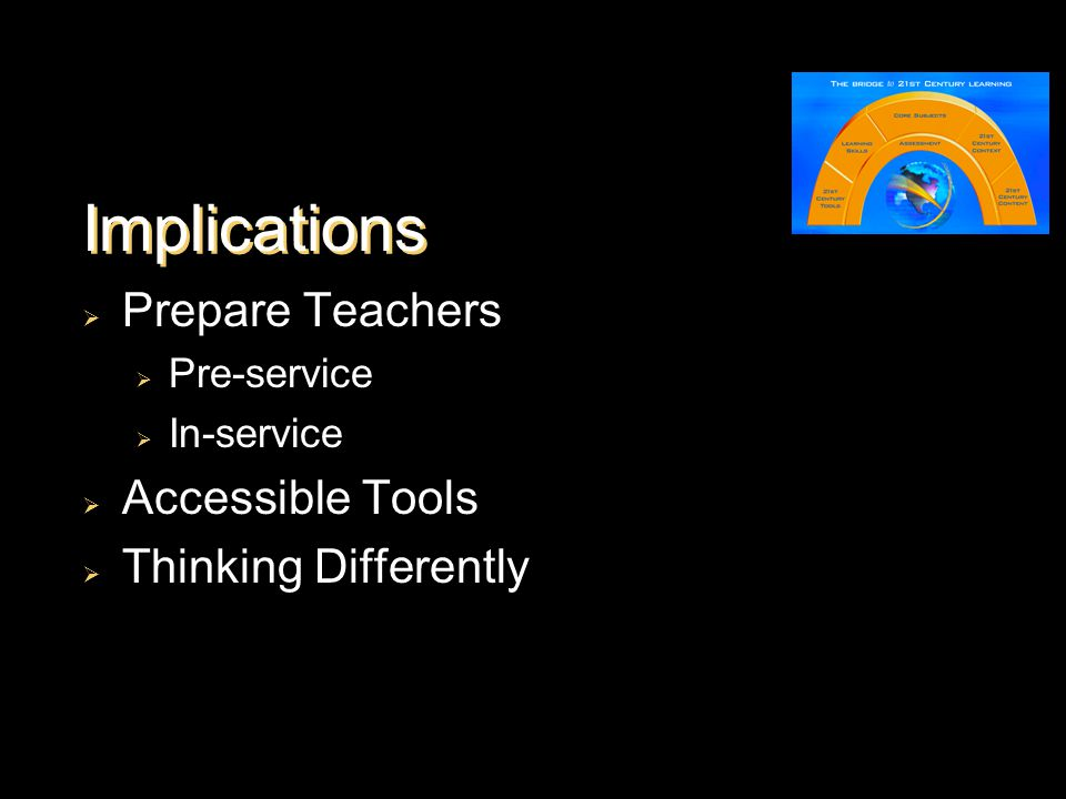 Implications  Prepare Teachers  Pre-service  In-service  Accessible Tools  Thinking Differently