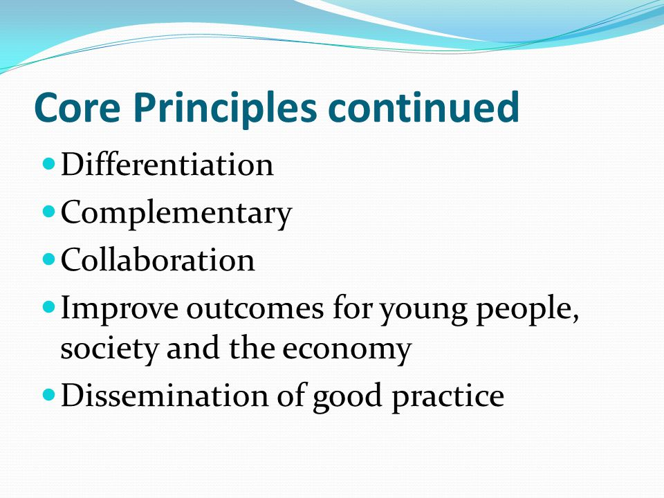 Core Principles continued Differentiation Complementary Collaboration Improve outcomes for young people, society and the economy Dissemination of good practice