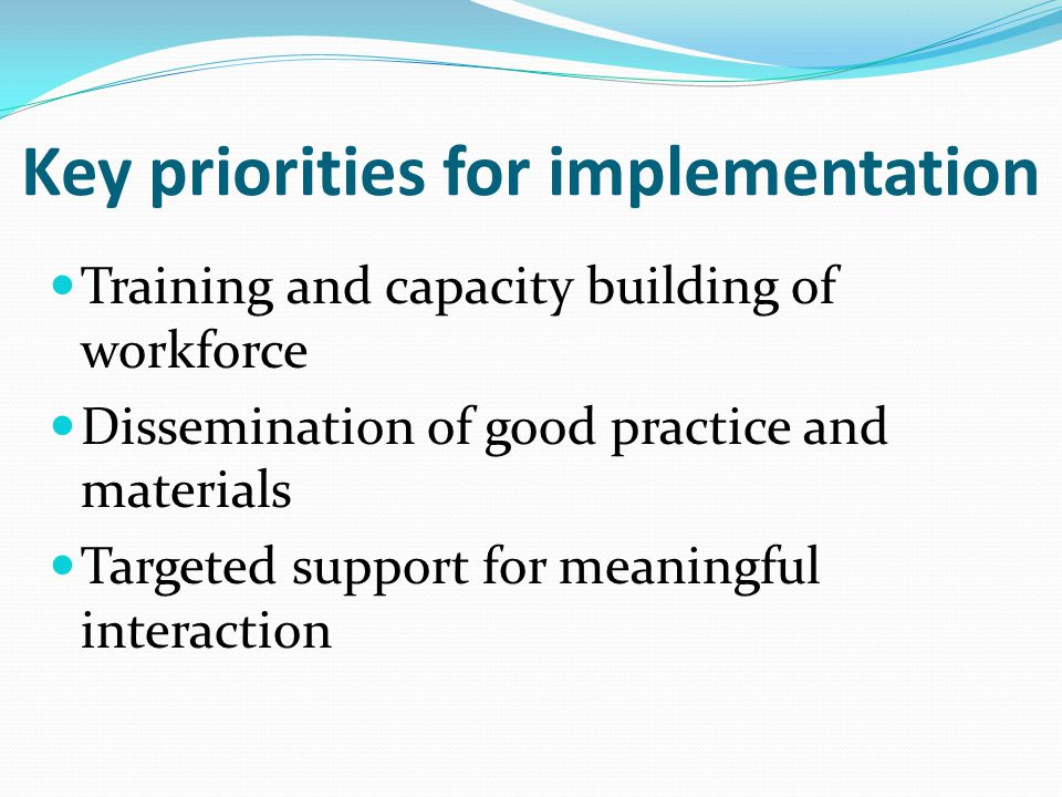 Key priorities for implementation Training and capacity building of workforce Dissemination of good practice and materials Targeted support for meaningful interaction