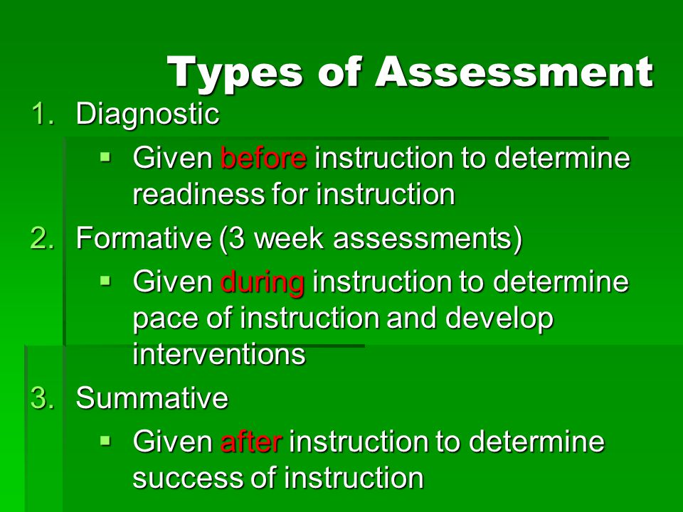 Types of Assessment 1.Diagnostic  Given before instruction to determine readiness for instruction 2.Formative (3 week assessments)  Given during ins