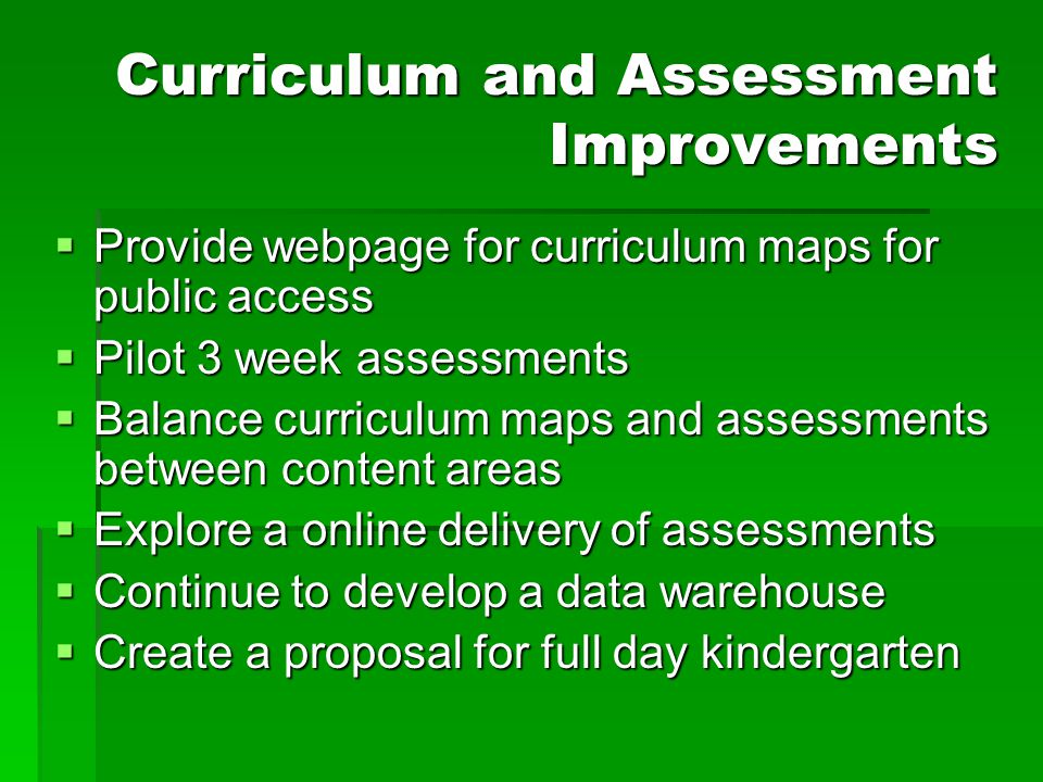 Curriculum and Assessment Improvements  Provide webpage for curriculum maps for public access  Pilot 3 week assessments  Balance curriculum maps an