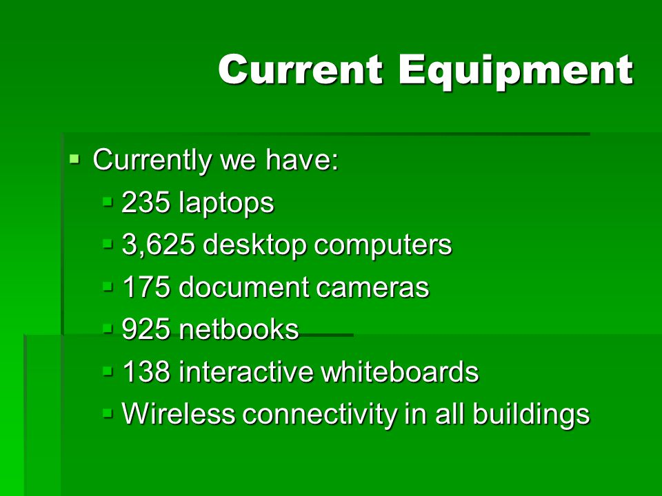 Current Equipment  Currently we have:  235 laptops  3,625 desktop computers  175 document cameras  925 netbooks  138 interactive whiteboards  W