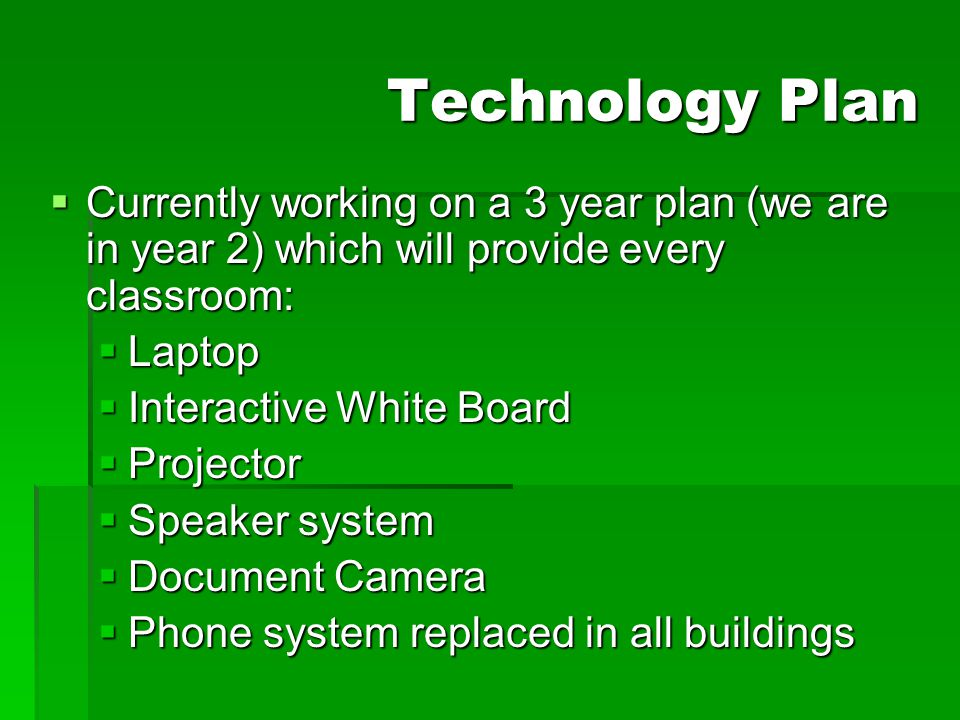 Technology Plan  Currently working on a 3 year plan (we are in year 2) which will provide every classroom:  Laptop  Interactive White Board  Proje