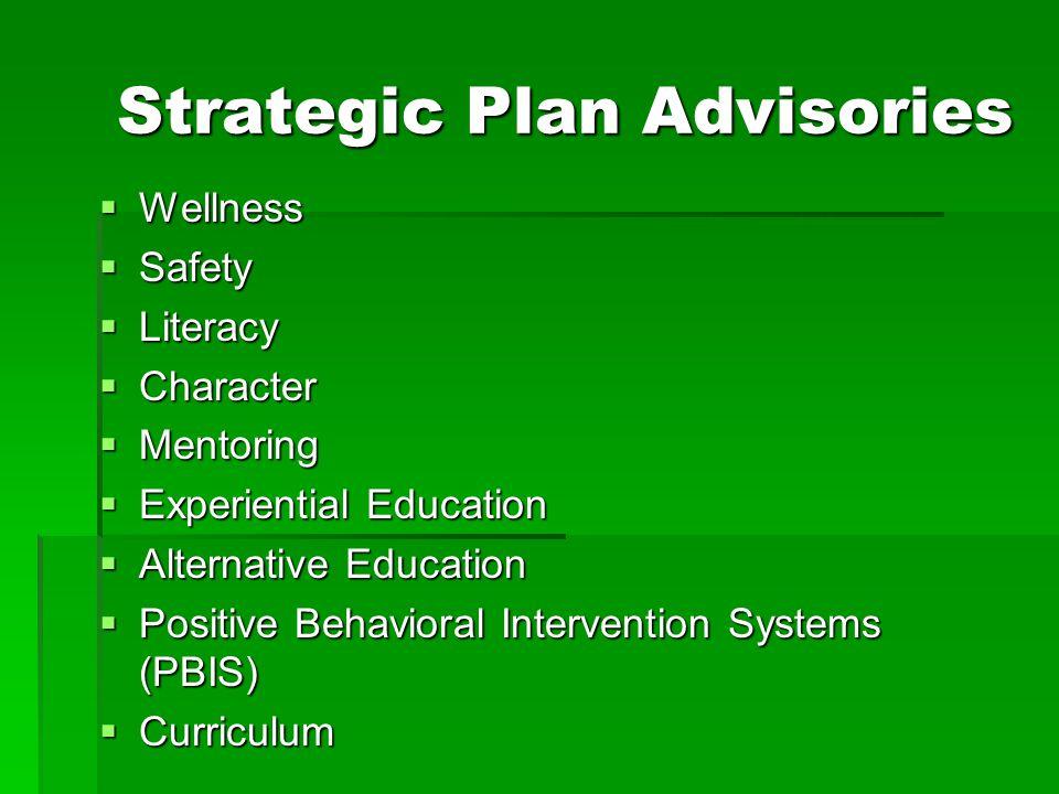 Strategic Plan Advisories  Wellness  Safety  Literacy  Character  Mentoring  Experiential Education  Alternative Education  Positive Behaviora