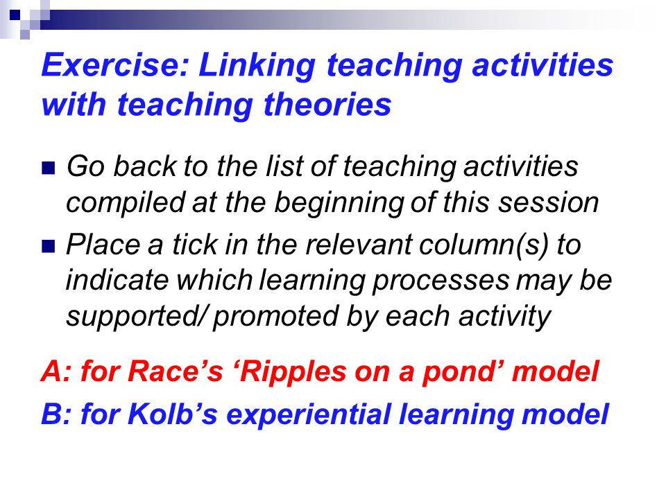Exercise: Linking teaching activities with teaching theories Go back to the list of teaching activities compiled at the beginning of this session Plac