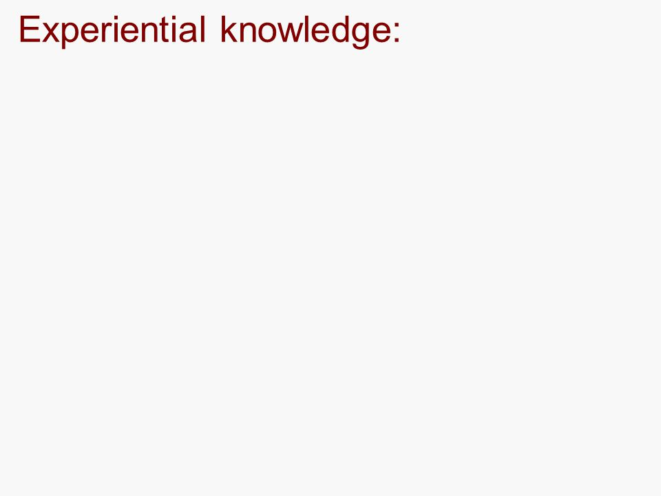 Experiential knowledge: