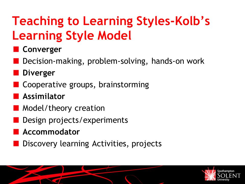 Teaching to Learning Styles-Kolb's Learning Style Model Converger Decision-making, problem-solving, hands-on work Diverger Cooperative groups, brainstorming Assimilator Model/theory creation Design projects/experiments Accommodator Discovery learning Activities, projects