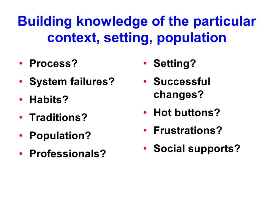 Building knowledge of the particular context, setting, population Process.