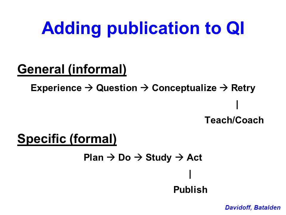 Adding publication to QI General (informal) Experience  Question  Conceptualize  Retry | Teach/Coach Specific (formal) Plan  Do  Study  Act | Publish Davidoff, Batalden