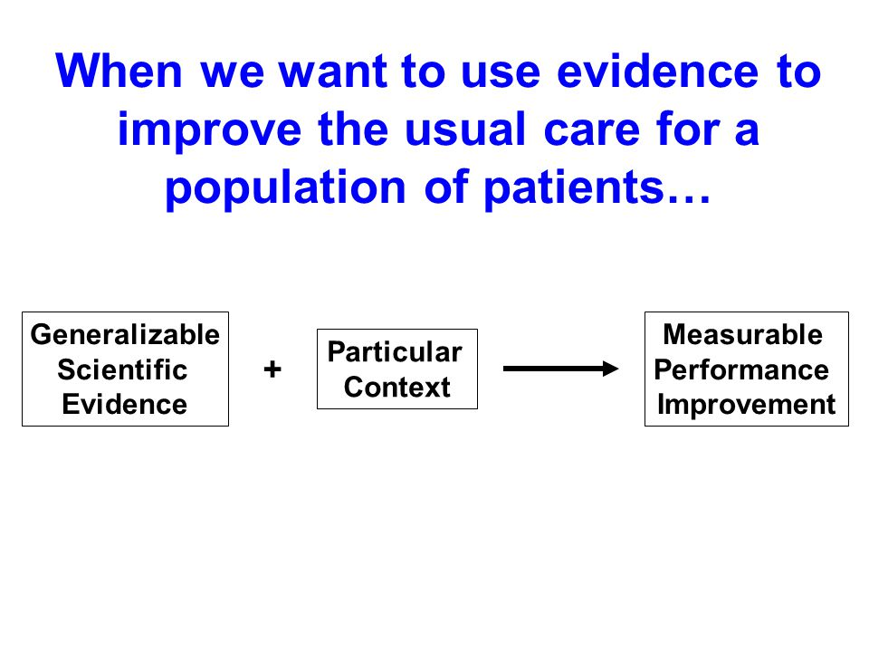 When we want to use evidence to improve the usual care for a population of patients… Generalizable Scientific Evidence Particular Context Measurable Performance Improvement +