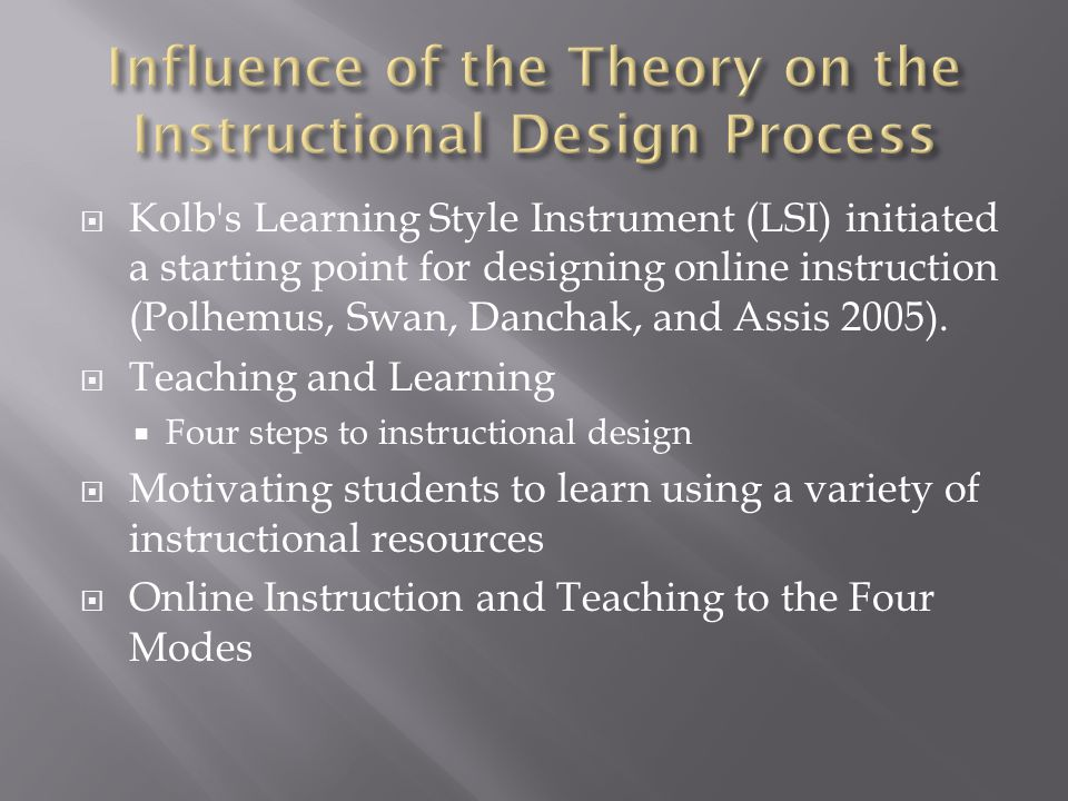  Kolb s Learning Style Instrument (LSI) initiated a starting point for designing online instruction (Polhemus, Swan, Danchak, and Assis 2005).