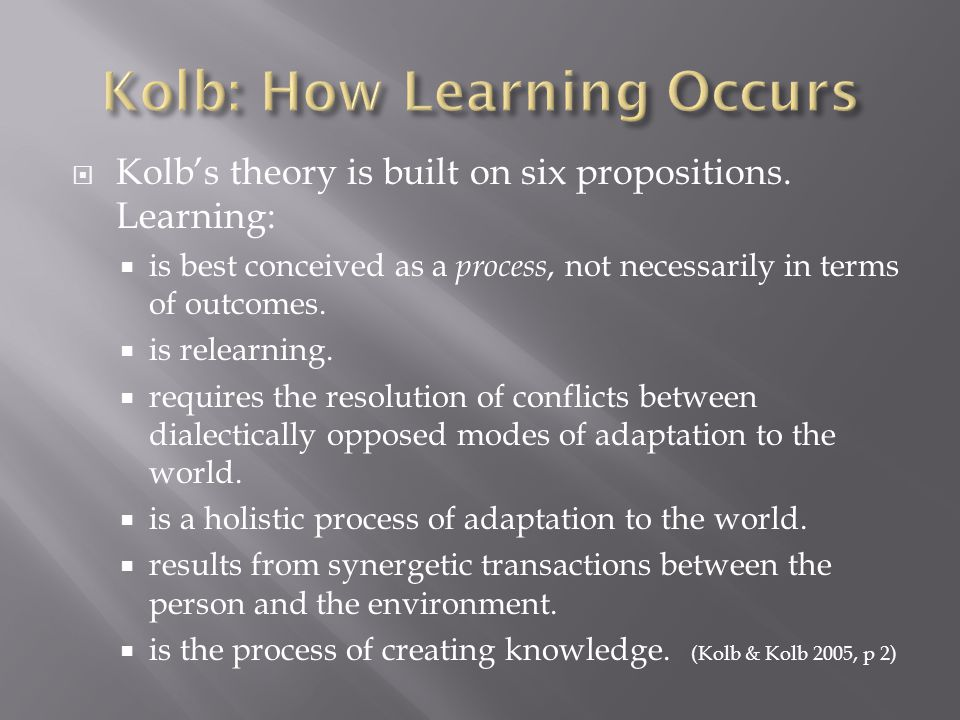  Kolb's theory is built on six propositions.