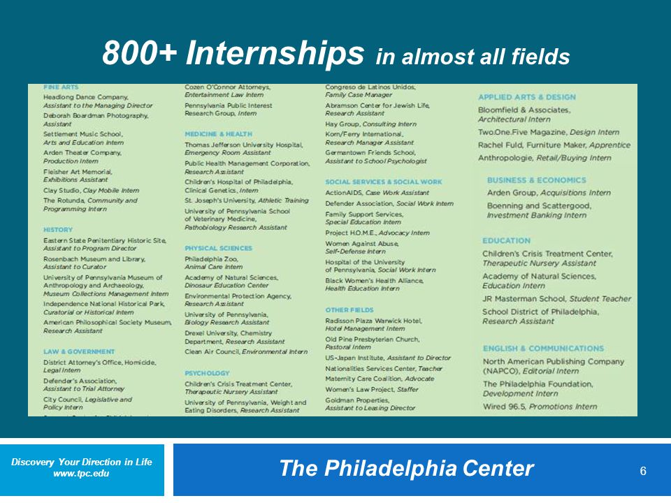 Discovery Your Direction in Life www.tpc.edu The Philadelphia Center 6 800+ Internships in almost all fields