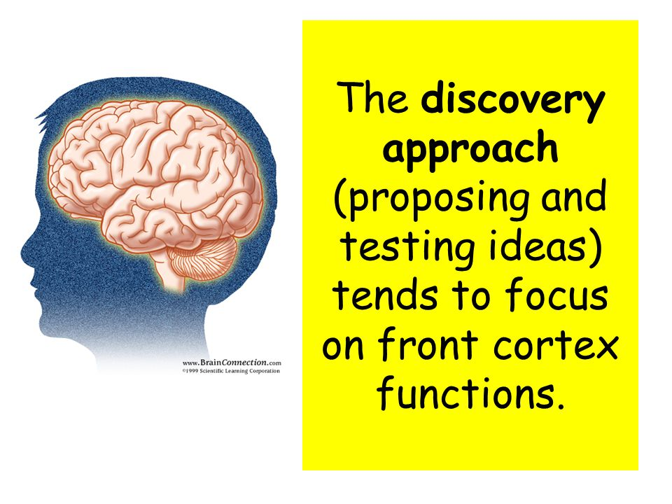 The discovery approach (proposing and testing ideas) tends to focus on front cortex functions.