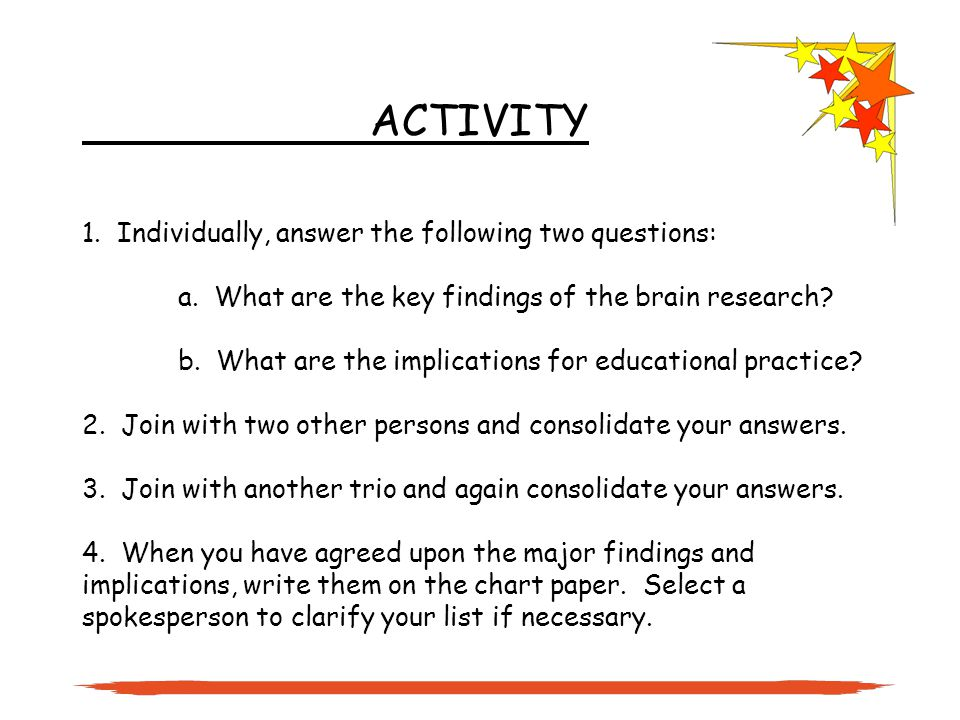 ACTIVITY 1. Individually, answer the following two questions: a.