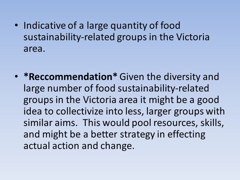 Indicative of a large quantity of food sustainability-related groups in the Victoria area. *Reccommendation* Given the diversity and large number of f