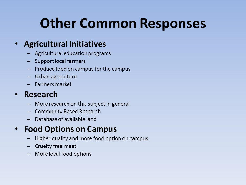 Other Common Responses Agricultural Initiatives – Agricultural education programs – Support local farmers – Produce food on campus for the campus – Ur