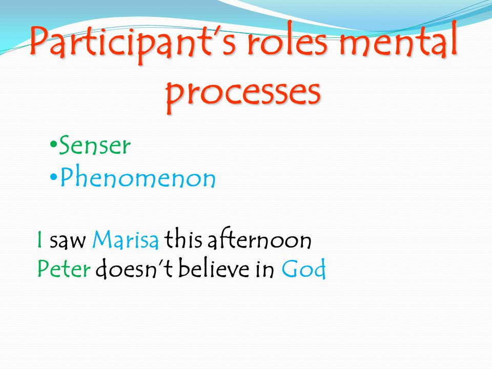 Participant's roles mental processes Senser Phenomenon I saw Marisa this afternoon Peter doesn't believe in God