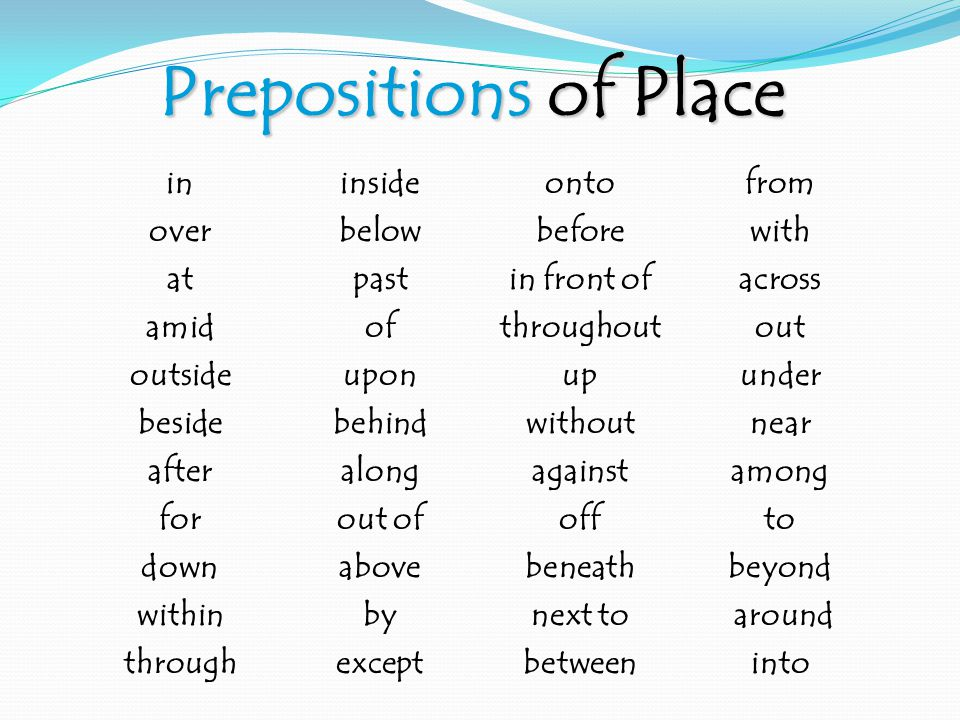 Prepositions of Place ininsideontofrom overbelowbeforewith atpastin front ofacross amidofthroughoutout outsideuponupunder besidebehindwithoutnear afteralongagainstamong forout ofoffto downabovebeneathbeyond withinbynext to around throughexceptbetweeninto