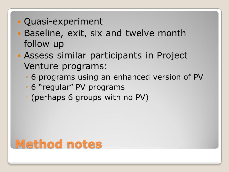 Method notes Quasi-experiment Baseline, exit, six and twelve month follow up Assess similar participants in Project Venture programs: ◦6 programs usin