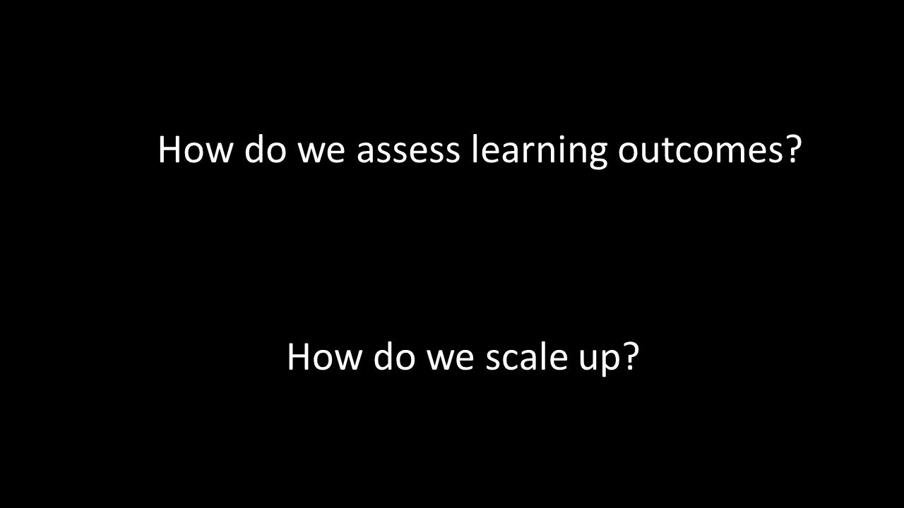 How do we scale up How do we assess learning outcomes