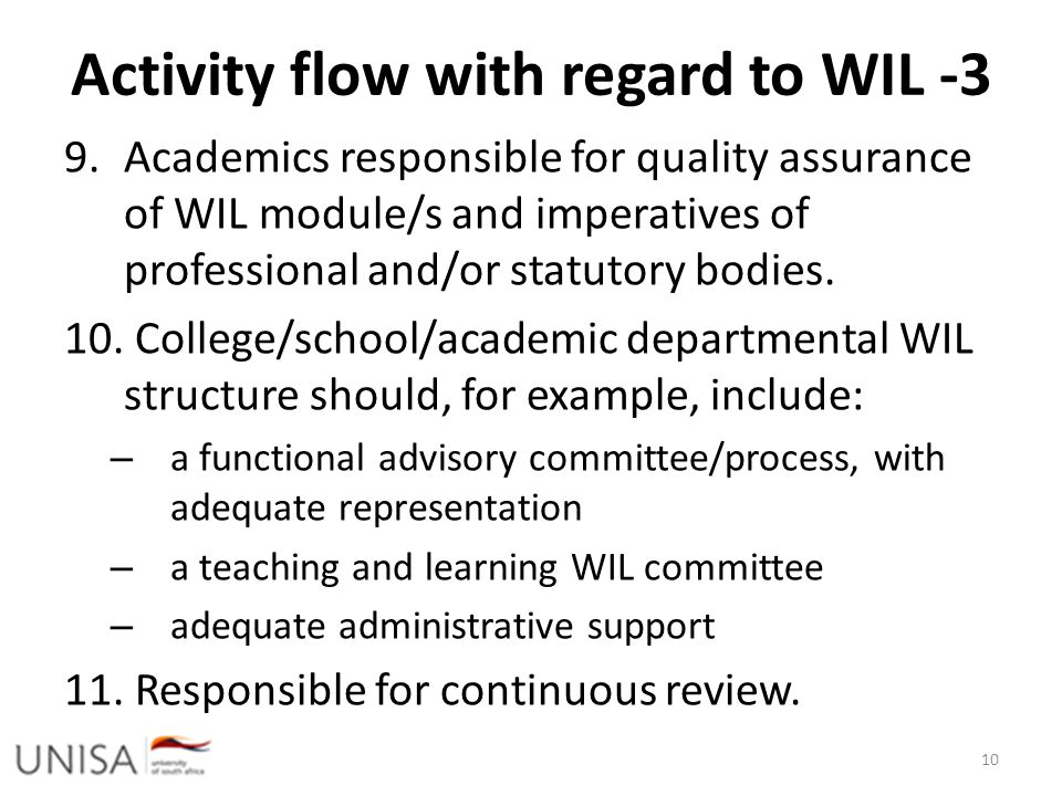 Activity flow with regard to WIL -3 9.Academics responsible for quality assurance of WIL module/s and imperatives of professional and/or statutory bod