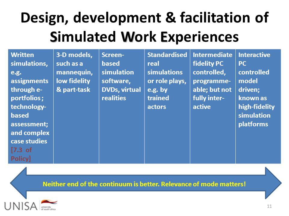 SWE Design, development & facilitation of Simulated Work Experiences 11 Written simulations, e.g.