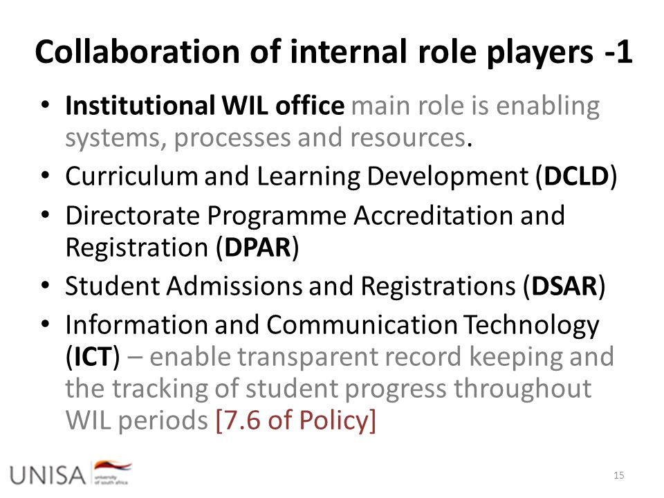 Collaboration of internal role players -1 Institutional WIL office main role is enabling systems, processes and resources. Curriculum and Learning Dev