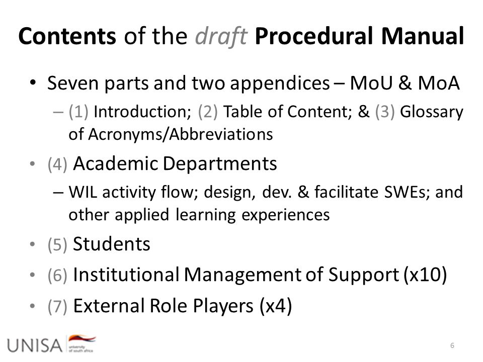 Ultimately Academic Responsibility Responsibility for teaching and learning rests within the relevant Colleges; Schools; Academics HE Monitor 12: Good Practice Guide of WIL differentiates in addition to workplace learning (WPL); work-directed theoretical learning (WDTL); problem- based learning (PBL); and project-based learning (PJBL) Imperatives espoused by CHE [7.2 of Policy: EL] – Criteria 1 & 15 for Programme Accreditation – Criteria 4, 7-8 and 11 for Institutional Audits – HEQF: to place students if WIL credit bearing [5.1 of 7 Policy]