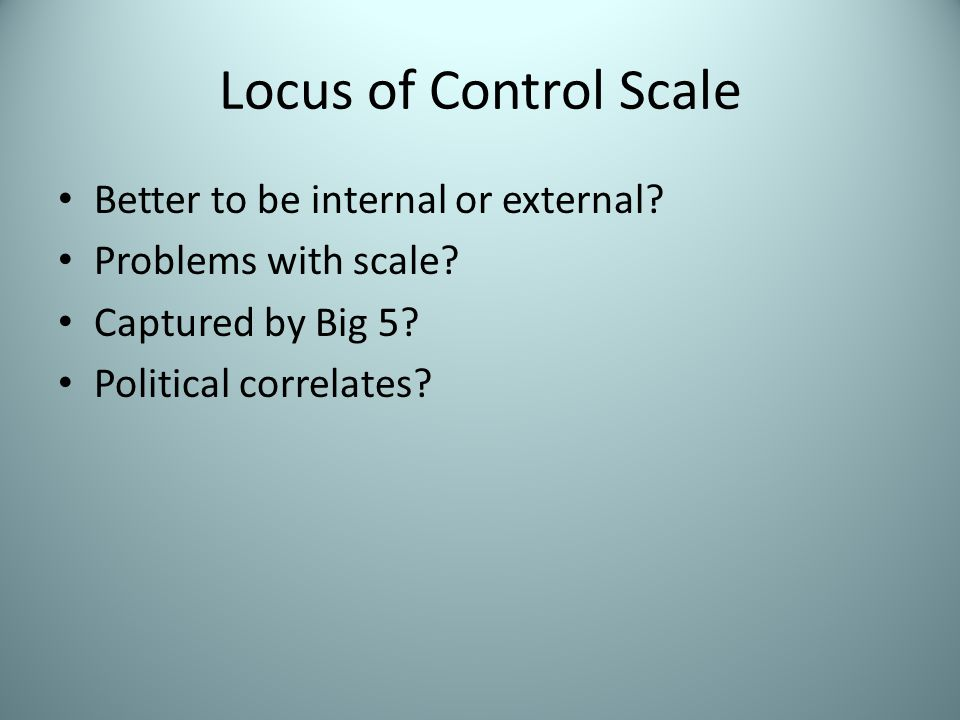 Locus of Control Findings Continued Socio-economic status (SES).