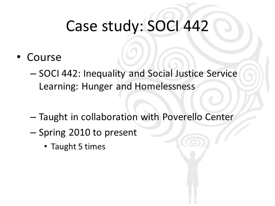Case study: SOCI 442 Course – SOCI 442: Inequality and Social Justice Service Learning: Hunger and Homelessness – Taught in collaboration with Poverel