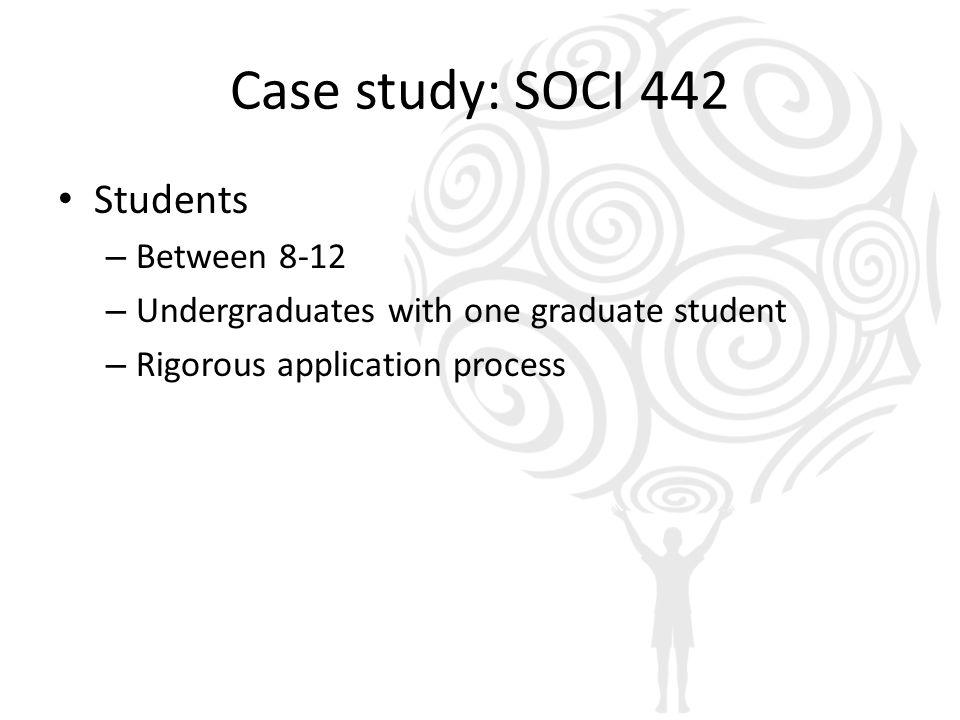 Case study: SOCI 442 Students – Between 8-12 – Undergraduates with one graduate student – Rigorous application process