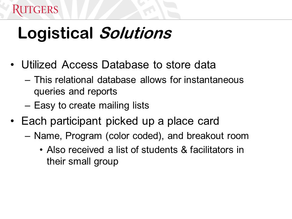 Logistical Solutions Utilized Access Database to store data –This relational database allows for instantaneous queries and reports –Easy to create mailing lists Each participant picked up a place card –Name, Program (color coded), and breakout room Also received a list of students & facilitators in their small group