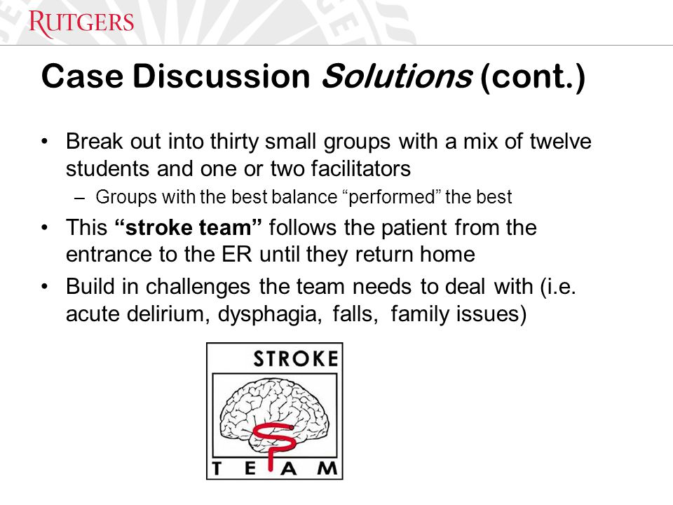 Case Discussion Solutions (cont.) Break out into thirty small groups with a mix of twelve students and one or two facilitators –Groups with the best b