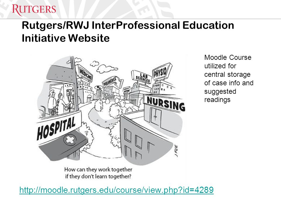 Rutgers/RWJ InterProfessional Education Initiative Website http://moodle.rutgers.edu/course/view.php id=4289 Moodle Course utilized for central storage of case info and suggested readings