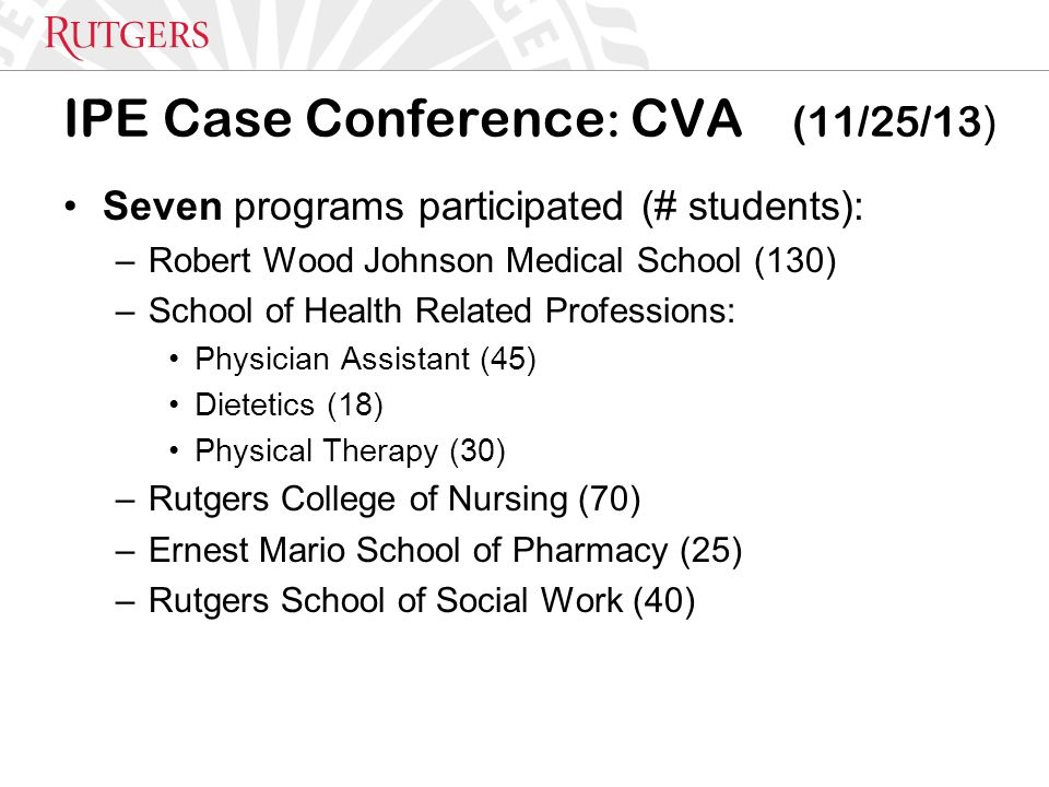IPE Case Conference : CVA (11/25/13 ) Seven programs participated (# students): –Robert Wood Johnson Medical School (130) –School of Health Related Professions: Physician Assistant (45) Dietetics (18) Physical Therapy (30) –Rutgers College of Nursing (70) –Ernest Mario School of Pharmacy (25) –Rutgers School of Social Work (40)