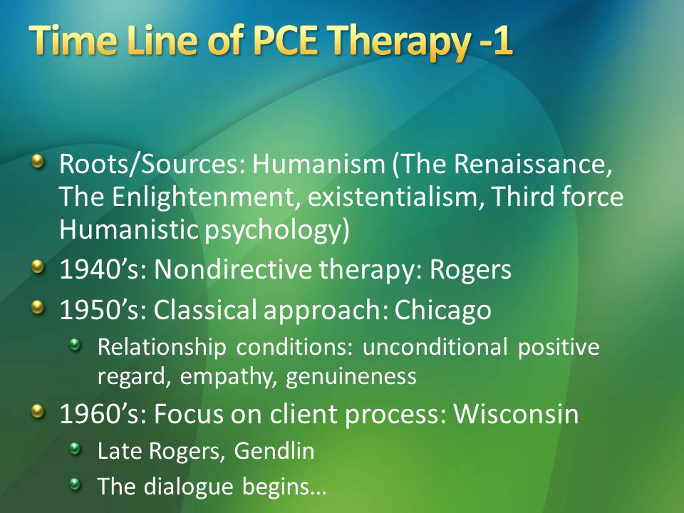 Roots/Sources: Humanism (The Renaissance, The Enlightenment, existentialism, Third force Humanistic psychology) 1940's: Nondirective therapy: Rogers 1950's: Classical approach: Chicago Relationship conditions: unconditional positive regard, empathy, genuineness 1960's: Focus on client process: Wisconsin Late Rogers, Gendlin The dialogue begins…