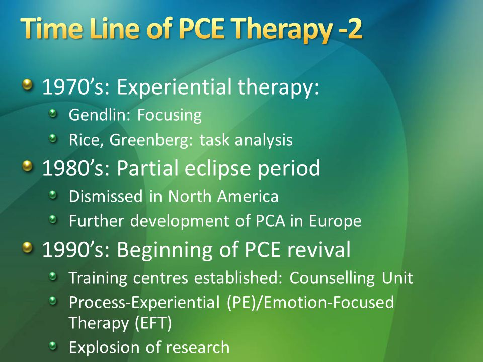 1970's: Experiential therapy: Gendlin: Focusing Rice, Greenberg: task analysis 1980's: Partial eclipse period Dismissed in North America Further development of PCA in Europe 1990's: Beginning of PCE revival Training centres established: Counselling Unit Process-Experiential (PE)/Emotion-Focused Therapy (EFT) Explosion of research