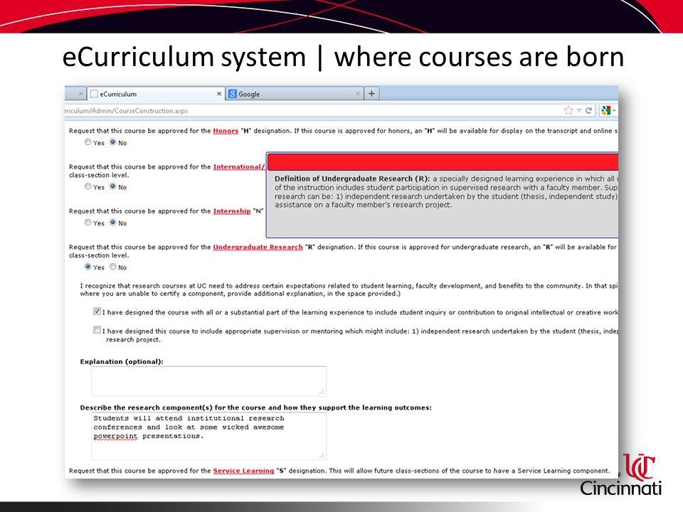 eCurriculum system | where courses are born