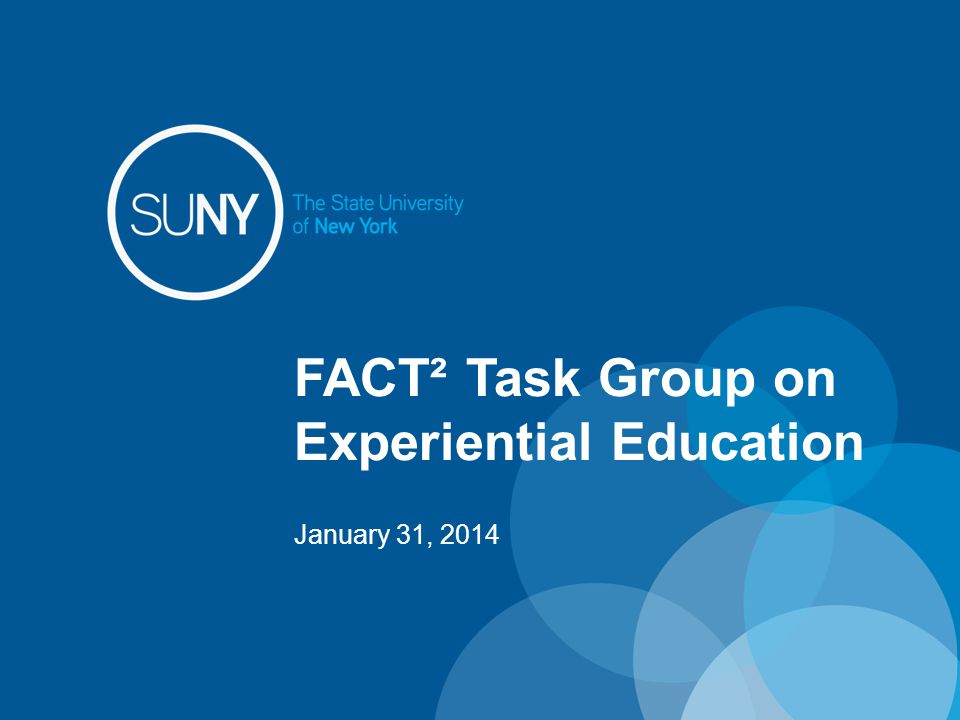 Weaving Experiential Education into the Curriculum Traditional/Online Open SUNY opportunities Internships, Co-ops, Service Learning Build online Experiential Ed communities Support Experiential Ed scholarship