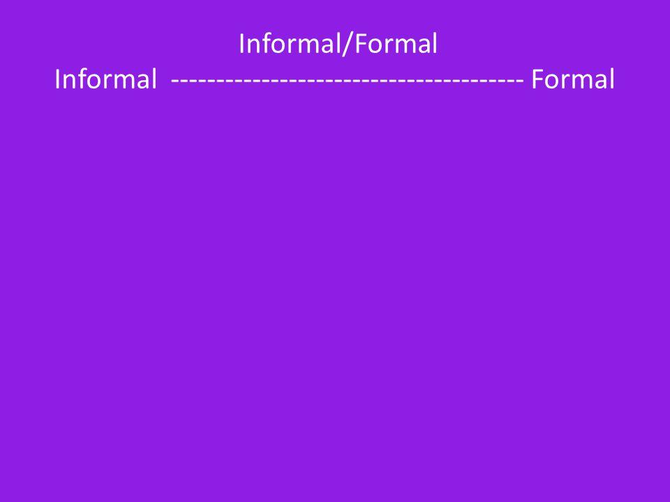 Informal/Formal Informal --------------------------------------- Formal