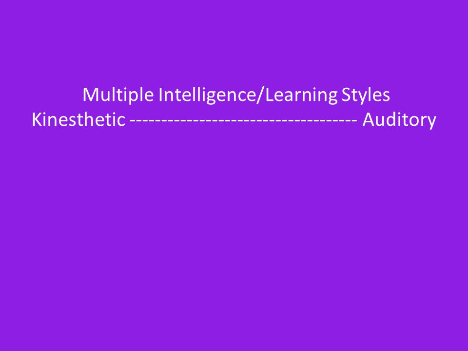 Multiple Intelligence/Learning Styles Kinesthetic ------------------------------------ Auditory