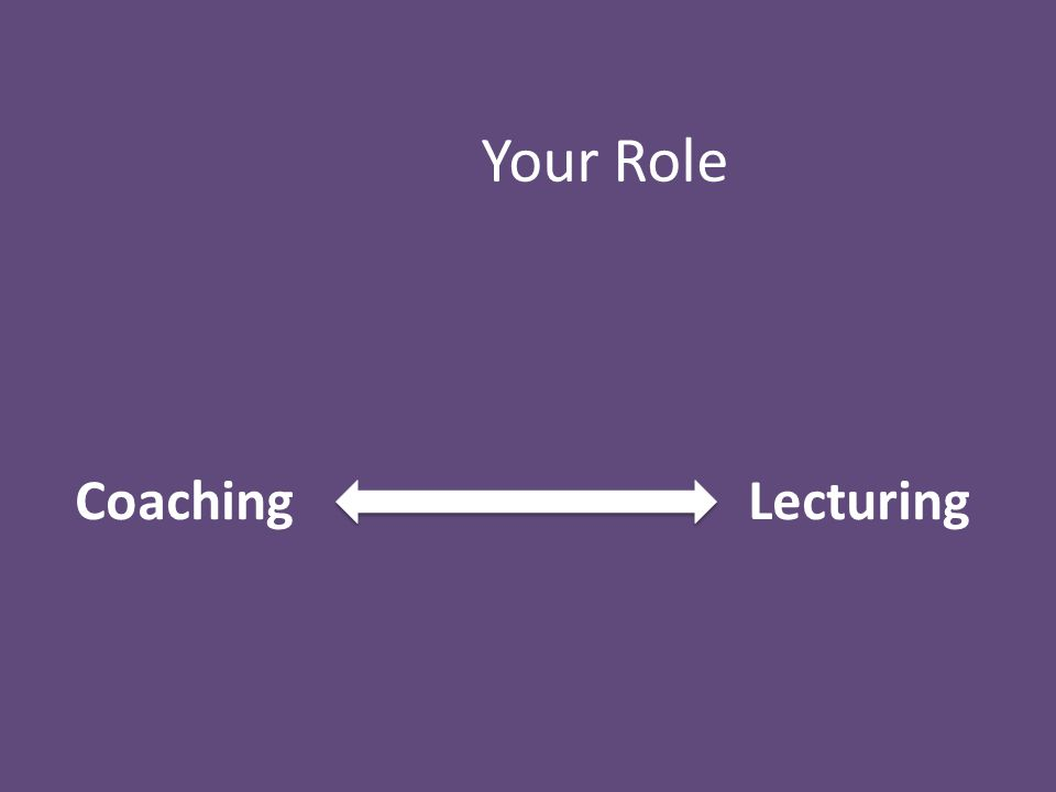 Coaching Lecturing Your Role