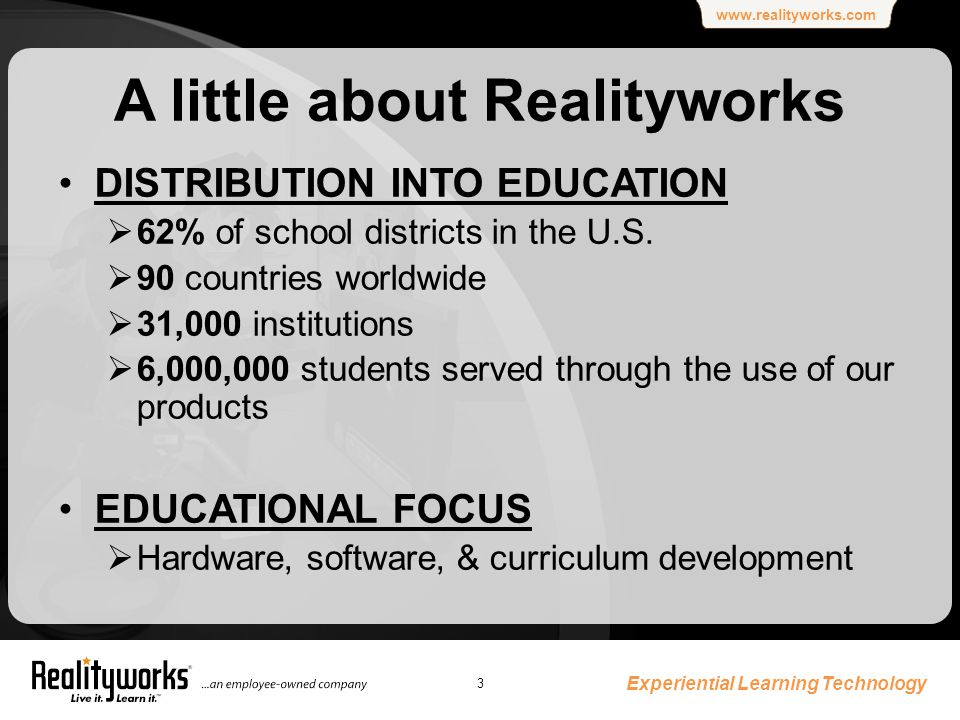 www.realityworks.com Experiential Learning Technology 3 A little about Realityworks DISTRIBUTION INTO EDUCATION  62% of school districts in the U.S.