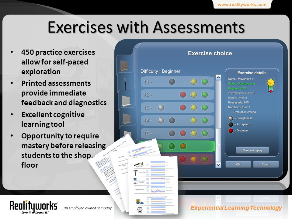 www.realityworks.com Experiential Learning Technology 9 9 Exercises with Assessments 450 practice exercises allow for self-paced exploration Printed assessments provide immediate feedback and diagnostics Excellent cognitive learning tool Opportunity to require mastery before releasing students to the shop floor